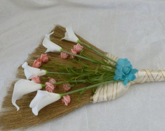 Wedding jumping broom, coral, ivory wedding broom, coral, turquoise, gold real touch flowers