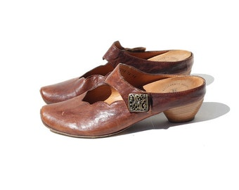 Italian Brown Leather Shoes / Slip on Sandals / Slippers / size 7.5