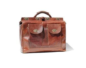 Vintage Mahogany Brown Leather Travel Bag / Weekend Travel Bag