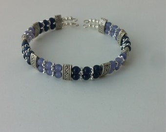 Periwinkle and blue cat's eye bracelet