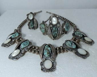 Vintage Navajo Jewelry Set Parure Necklace Bracelet Ring Signed Sterling Silver Turquoise Mother of Pearl Size 10 Ring DanPickedMinerals