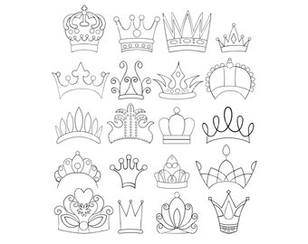 Set of 20 Doodle Crowns Graphics Clipart Images Tiara Princess Queen King Royalty Instant Download Diadem Hand Drawn