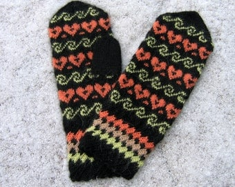 Hand knitted mittens. Wool mittens. Black, green and orange colors mittens for women. Patterned mittens. Winter mittens.