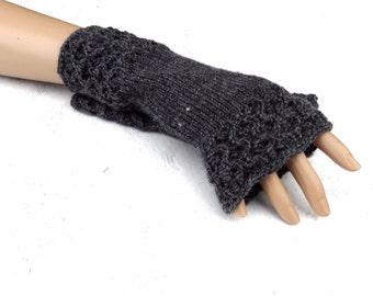 knitted gray fingerless gloves knit grey arm warmers knitting dark grey fingerless mittens handknit womens mitts handmade accessories