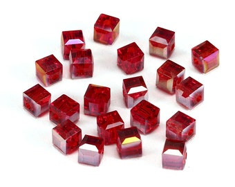 10pcs 8mm Red AB Color Crystal Glass Cube spacer Beads for jewelry making