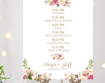 Evening Agenda | Evening Outline of Events | Vintage | Floral Option | Various Sizes | I Create and You Print