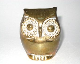 Mid Century Modern Brass Owl Paperweight Figurine Sculpture Korea