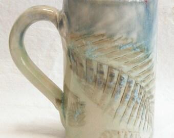 Fern leaf ceramic coffee mug 16oz  stoneware 16B062