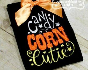 Candy Corn Cutie - Halloween Applique Shirt - Girl's Halloween Shirt - Holiday Designs - Monogrammed Shirt