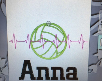 Personalized heartbeat volleyball towel, volleyball gift, volleyball team gift, coach gift, message for school sports discount