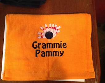 Personalized Bowling towels, fast turnaround, lots of color choices
