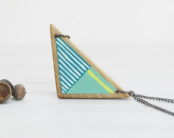 Hand painted triangle necklace wooden necklace geometric wood necklace -made to order