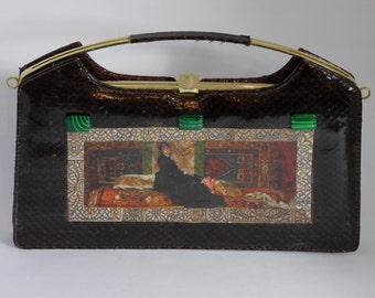 "Leather french vintage couture   handbag ""Sarah Bernhardt"" unique piece  retro chic art bag steampunk bag french  touch"