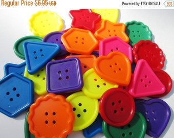 FALL SALE 20% Off 30 Large Colorful Craft Shaped Buttons....Shapes, Back to School embellishments, scrapbooking...New Supply