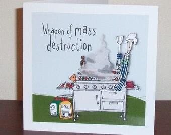 Funny cartoon male birthday card, bloke birthday card, BBQ Weapon of mass destruction card, male birthday card