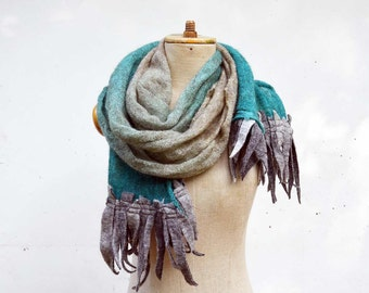 turquoise grey fringe scarf, ombre Angora wool felt dread, hand dayed, pure soft wool, delicate transparent openwork unique art to wear 125