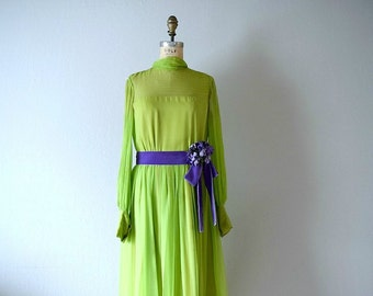 1970s silk chiffon dress . vintage 70s Teal Traina dress
