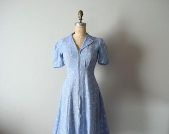 1940s vintage dress . 30s 40s novelty print dress