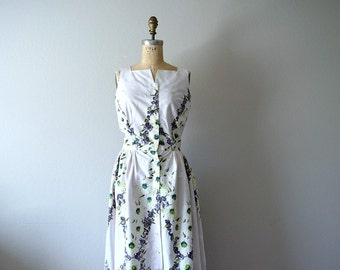 1950s vintage dress . 50s floral and butterfly print sundress
