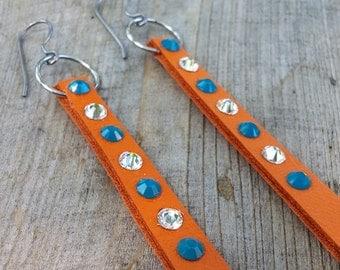 Orange Leather Earrings   Caribbean Blue Earrings   Leather Earrings   Orange Earrings   Sparkle Leather Earrings   Swarovski Earrings