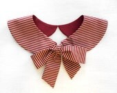 Burgundy and Beige Stripe Detachable Peter Pan Collar / Handmade Accessory
