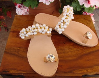 Genuine Greek Handmade  Leather  sandals Bridal Wedding Shoes Bridesmaid Maid of Honor