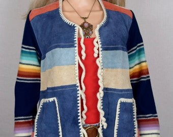Vintage 1970's Collage Rainbow Crocheted Suede & Knit Patchwork HiPPiE Native BoHo Sweater Size S M