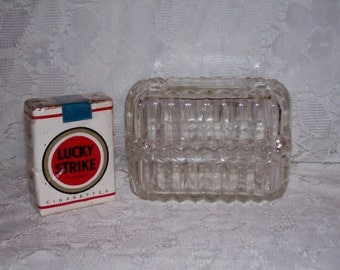 Vintage Stacking Cigarette Box Crystal Ashtray Set Monogrammed AAC Only 8 USD