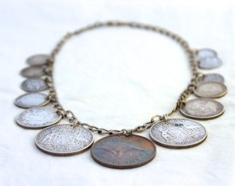 Australian Coin Silver Charm Pendant // 1920s to 1940s // Sixpence 925 Silver