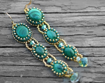 Dreaming in Green Earring KIT- bead embroidery kit- DIY