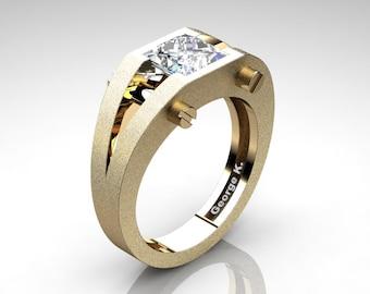 Modern 14K Yellow Gold 1.25 Ct Princess White Sapphire Ring R394-14KYGSWS