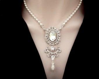 Pearl necklace, Crystals necklace, Chandelier necklace, Pearl pendant necklace, Victorian style, Brides necklace, Wedding necklace, ANGELINA