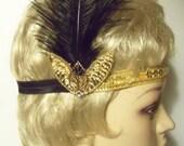 Gold Great Gatsby Headpiece - Black and Gold Flapper Headband - 1920s Headpiece - Flapper Costume - Roaring 20's Headband