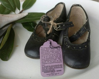 Antique Childrens Black Mary Janes in Box with Tag - Victorian Shoes for Girls, Antique Black Leather Mary Janes, Home + Nursery Decor