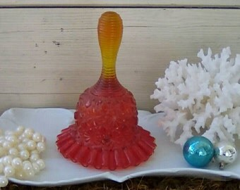 Mid Century Amberina Hobnail Bell by Fenton - Vintage Orange Red Art Glass Tinkling Bell With Ruffled Edges, Retro Fenton Collectible Glass