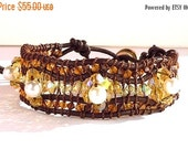 Clearance Sale Crystal 3 Tier Wrap Bracelet - Leather Cord - Metal Button Clasp