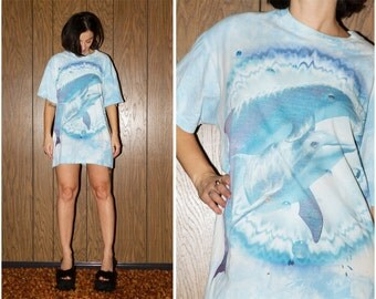 90s Style Oversized Festival Grunge Sea Punk Club Kid Raver Tie Dye Distressed Dolphin Screen Print T Shirt Liquid Light Baby Blue L / XL