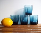 Vintage Blue Glass Rocks Glasses, Lowball Cocktail Glasses, Squared Shape, Retro Modern Barware