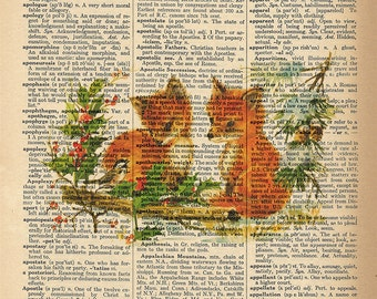 Dictionary Art Print - Cute Fox Pair - Upcycled Vintage Dictionary Page Poster Print - Size 8x10