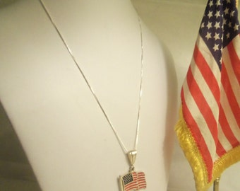 Sale- Patriotic Vintage Large Sterling 925 Red White Blue AMERICAN FLAG w/ Sterling Italian Box Chain 925- Birthday Gift Him Her Dad Mom