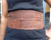 Genuine leather Brown patchwork obi belt, waist cincher, corset belt, single tie belt