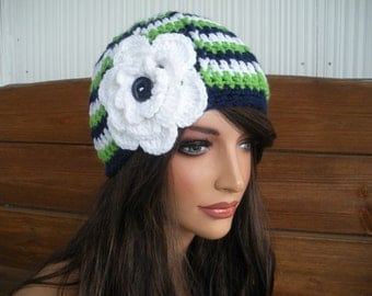 Womens Hat Crochet Hat Fashion Accessories Women Beanie Hat Cloche in White, Green and Navy blue stripes with White Flower
