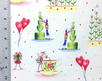100% Cotton Fabric by the yard, Hearts and Teacups,  Love Garden