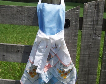 Handkerchief Apron Farmhouse Style Granny Chic from Vintage Hankies in White Blue Peach Full Length Retirement Birthday Gourmet Mom Gift
