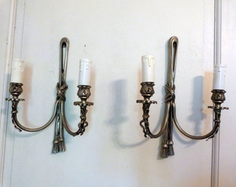 Pair antique French wall sconces lamps wallsconces w bows ribbons lighting wall fixtures romantic chic French boudoir home decor wallsconces