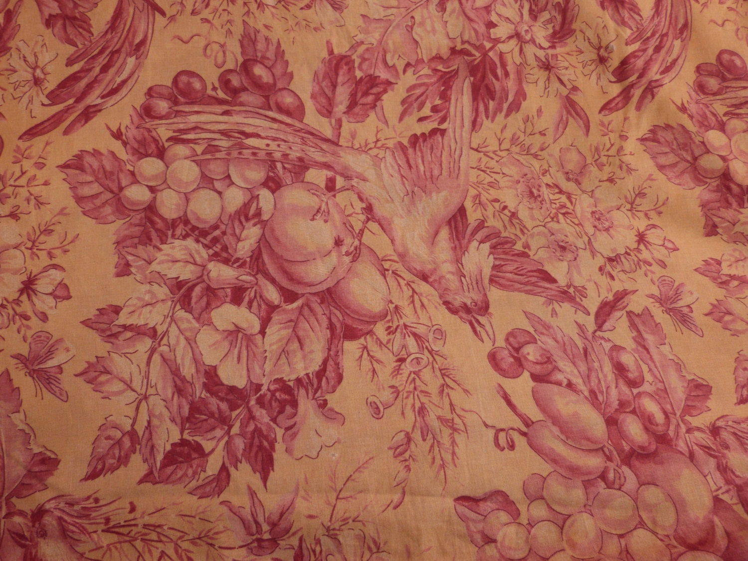 Big antique french toile fabric toile de jouy fabric w bird for French toile fabric