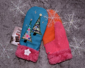 Wool Mittens, Handmade recycled upcycled wool sweater, Fleece Lined, Embroidered , Fair Isle, Patchwork Applique, HOLIDAY