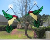 Stained Glass Hummingbird Sun Catcher - Handcrafted Authentic Stained Glass - Left Facing Position
