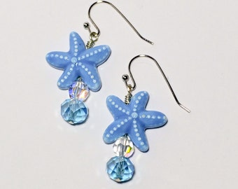 Blue Starfish Earrings Stocking Stuffer Christmas Gifts Friendship Gift Dangle Earrings