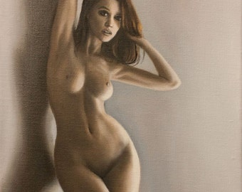 Nu 01 : Original oil figure painting,  Standing nude in shadows